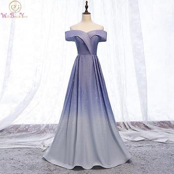 Vestidos de Noche azules Bling Sparkle gradiente Color rosa gris elegante reflectante una línea fuera del hombro vestidos largos de graduación Formal escuela