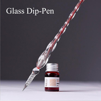 Glass Dipped Ink Pen Thread Nib Liquid Ink Pen Sign Pens Daily Best Gift Dip Pen