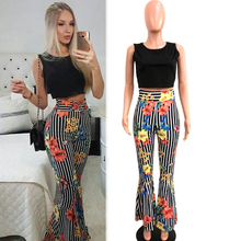 Striped 2 Piece Outfits for Women Fashion Designer Festival Clothing Matching Floral Print 2019 Summer Sleeveless Top Pant Suits