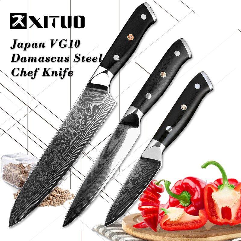 XITUO 3.5 + 5 + 8 Pouces 3 pcs Ensemble Couteau de Cuisine Japonais VG10 Damas Acier Chef couteaux de Cuisine Professionnels Outils Utilitaire Fruits