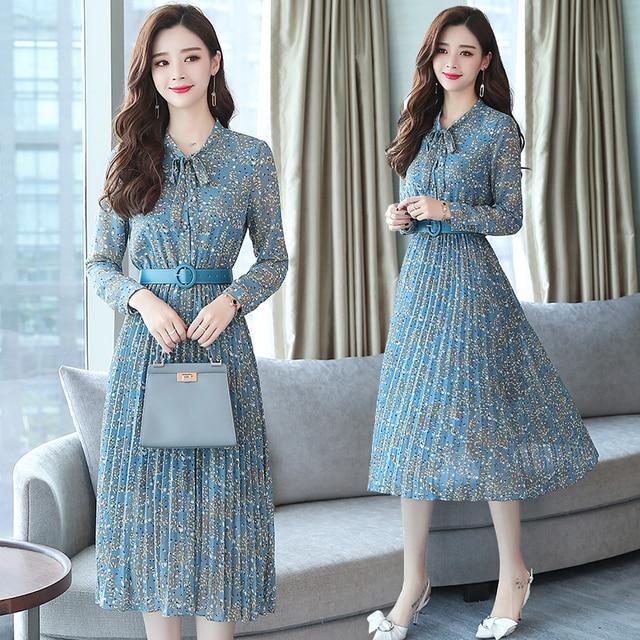 2019 Autumn Winter Vintage Chiffon Floral Midi Dress Plus Size Maxi Boho Dresses Elegant Women Party Long Sleeve Dress Vestidos 1