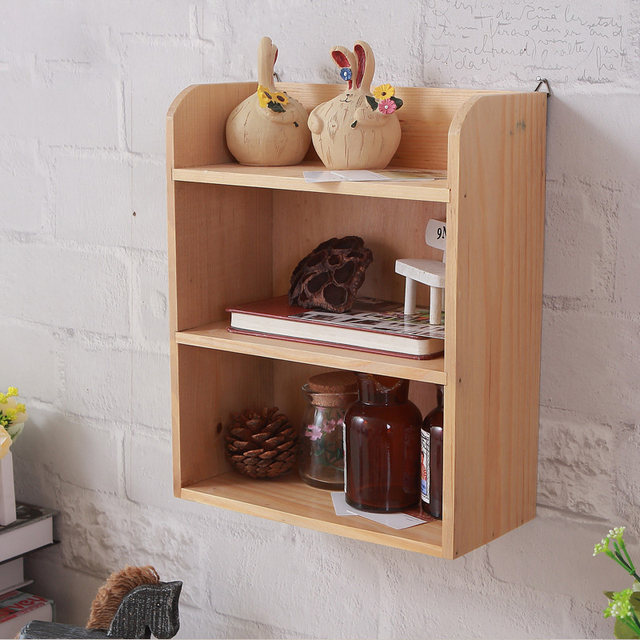 Vintage Wall Mounted Wooden Storage Shelf Creative Three Layer Sundries  Holder Home Decorations Wall Shelves Flower Pot Holder
