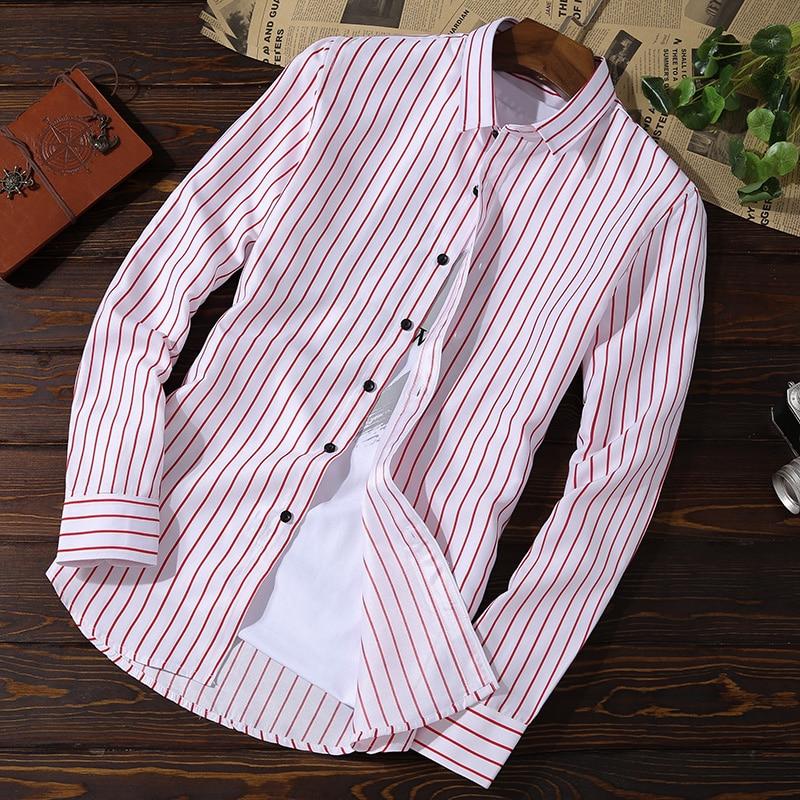XMY3DWX Men long sleeve shirt male fashion brand new products sell like hot cakes stripe slimming leisure shirt/dress shirt 5XL 2
