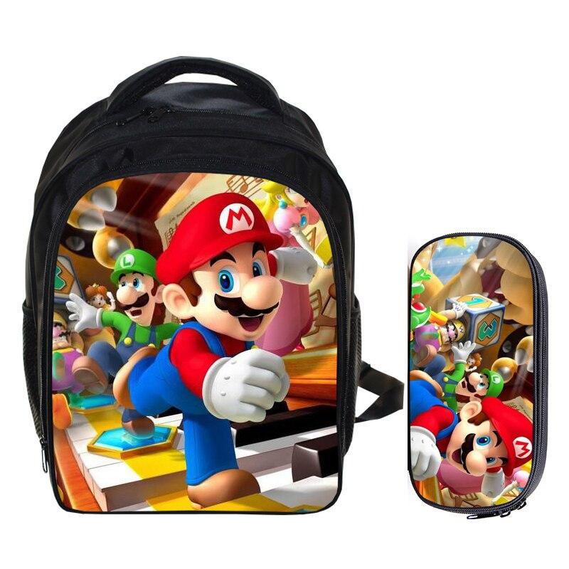 13 Zoll Super Mario Bros Sonic Rucksack Kinder Schule Taschen Für Jungen Schul Baby Kindergarten Kind Taschen Bleistift Tasche Sets Wohltuend FüR Das Sperma