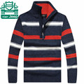 Nian AFS JEEP Original Brand Men Winter Cotton Wool Sweater Stand Collar Patchwork Striped Thick Loose Knitted Pullover Outwear