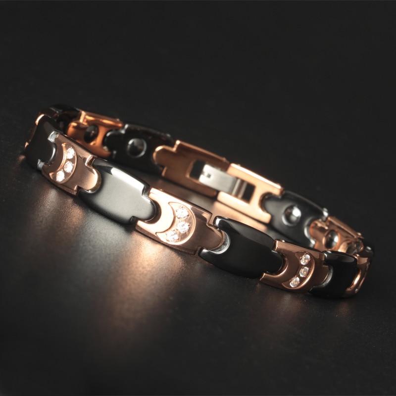 High-grade Luxury Ceramic Bracelet Men and Women Rose-Gold Health Jewelry