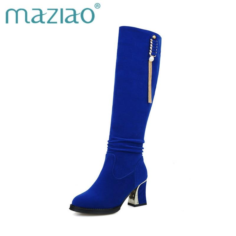 MAZIAO Grande Taille 34-48 Genou Haute Bottes Femmes Chaussures Femme Mode Haute Talons Partie de L'hiver Bottes Noir Bleu rouge Bottine