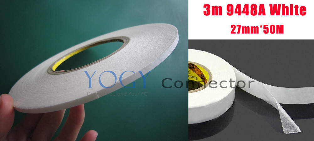 1x 27mm 3M 9448A White Double Sided Adhesive Tape for Electrical Components, Nameplate, Rubber Strip, LED 1pcs 18mm x 5mm single sided self adhesive shockproof sponge foam tape 3 meters