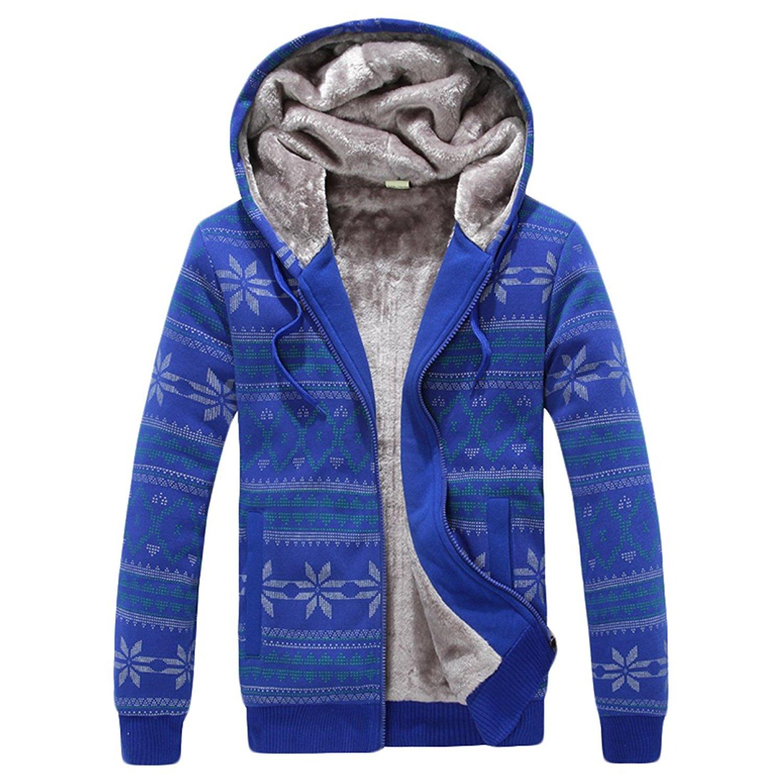 WANSHIYISHE Men's Fashion Slim Fit Zipper Fleece Hoodie Sweatshirt