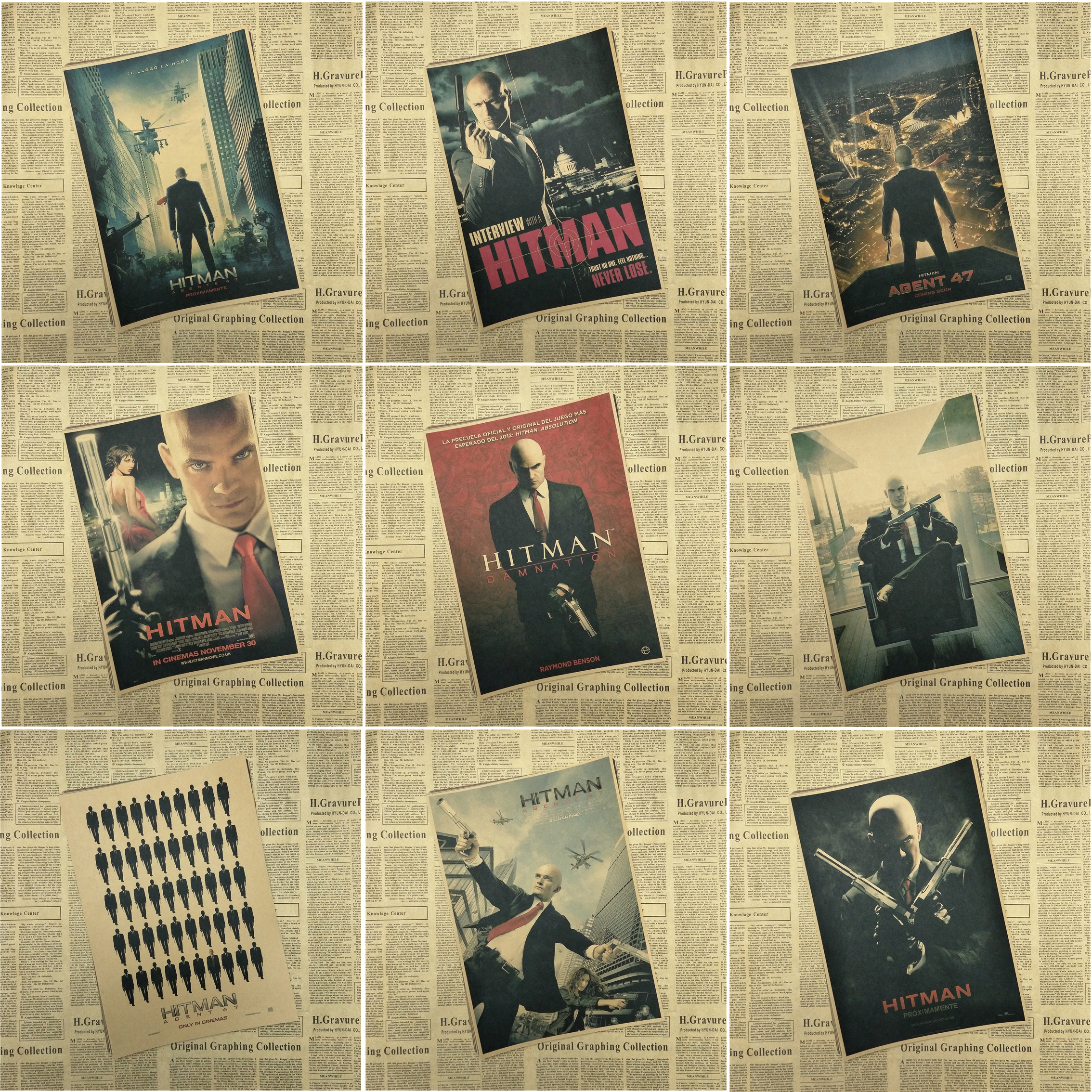 Hitman core Classic Movie Retro Kraft Paper Poster Bar Cafe Living Room Dining room image