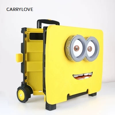 Travel Tale Portable Folding Trolley Shopping Cart Grocery Shopping Cart Car Storage Box Luggage Spinner Brand Cartoon Suitcase