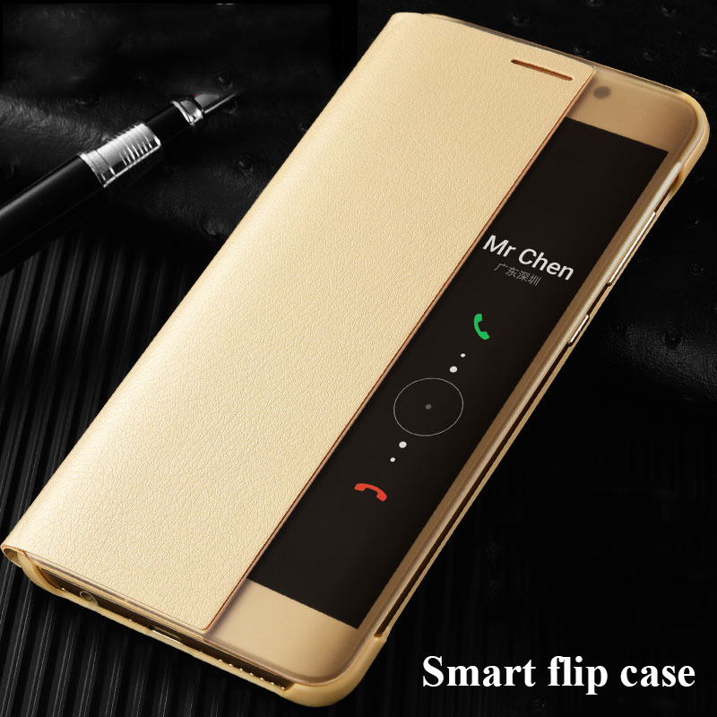 For Huawei P10 Case PU Leather Flip Cover Smart Window View Phone Cases For Huawei P10 Plus