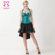 8821718cbd4 Ocean Green Satin Halter Padded Cups Push Up Corpetes E Espartilhos Sexy  Corset Skirt Gothic Dress