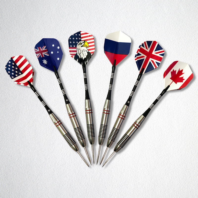 3pcs/Set Professional <font><b>Tungsten</b></font> Steel Tips <font><b>Darts</b></font> National Flag Pattern 25g Needle Tip <font><b>Darts</b></font> with <font><b>Dart</b></font> Flights Sports Q image