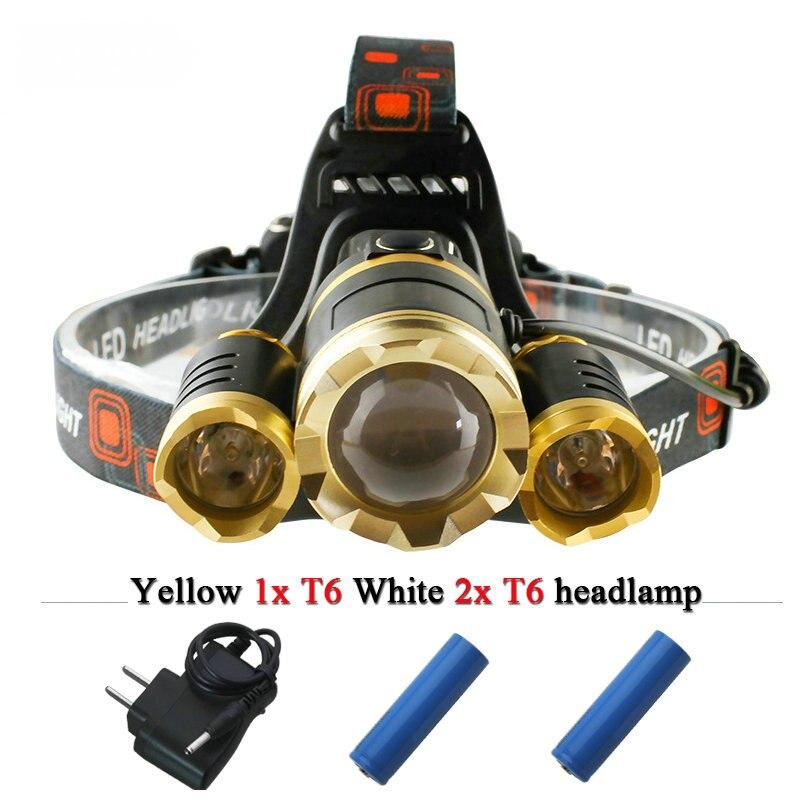 ซูมledไฟหน้า3 led xml t6ไฟฉายไฟหน้าหัวกันน้ำ18650แบตเตอรี่