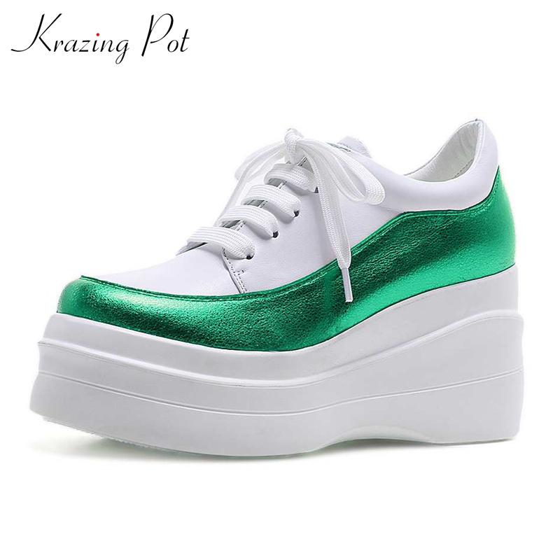 Krazing Pot new cow leather round toe sneaker thick bottom causal shoes women mixed color European lace up vulcanized shoes L1f6