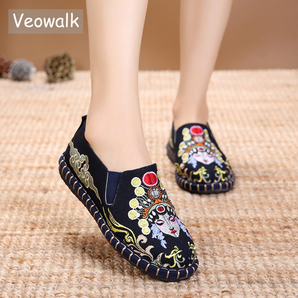 Veowalk Chinese Opera Embroidery Women Canvas Loafers Shoes Ladies Comfort Slip-on Flats Woman Soft Cotton Embroidered Shoes veowalk chinese painting plum flower embroidered women canvas flat espadrilles fashion ladies comfort driving loafers shoes