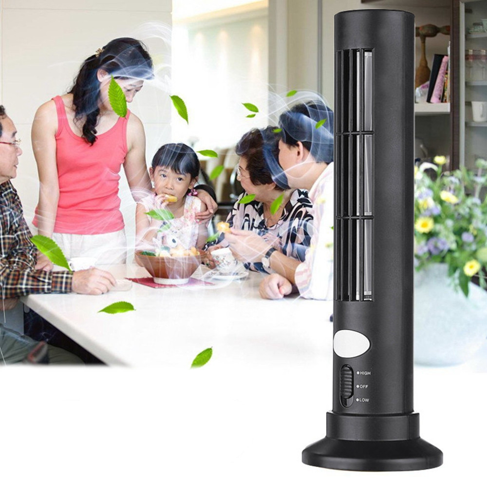 цена на Portable Mini USB Battery 2.5W Vertical Bladeless Tower Fan Desk Cooling Leafless Air Conditioner Purifier For Computer Office