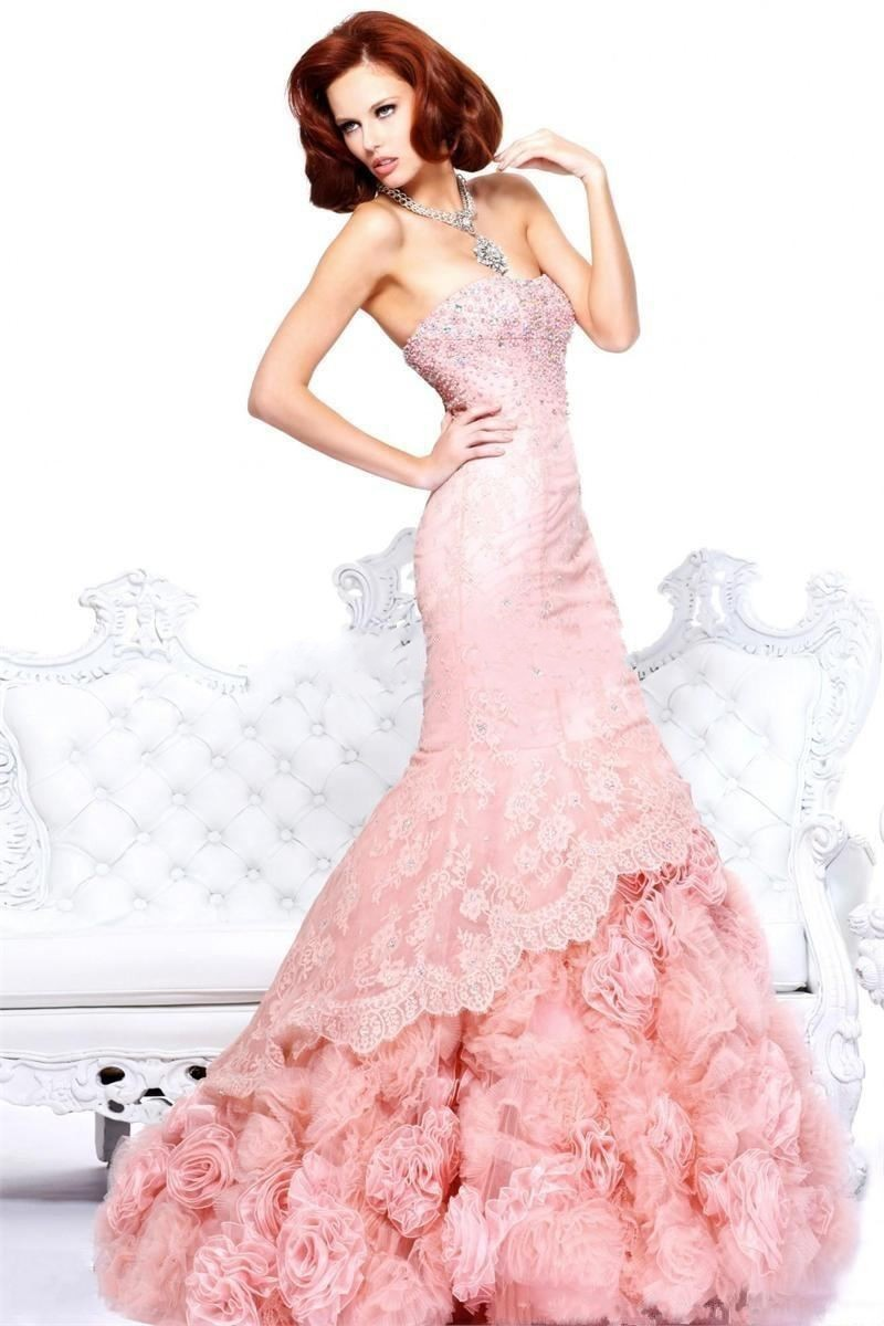 Gorgeous Beaded Strapless Pink Lace Evening Dresses 2016 Exquisite ...