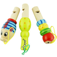 1pcs Mini Wooden Cartoon Animal Whistle Musical Toys Gift Cartoon Colorful Development Toy Baby Doll Keychain Instrument Toy(China)