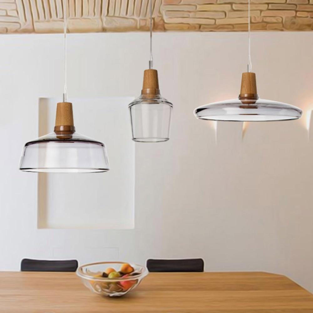 wood natural diy craft glass pendant light nordic ikea lamp 1.2m