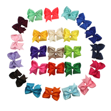 Adogirl 3 Inch Handmade Solid Bowknot Hair Clips For Girls Rainbow Felt Hairpins Kids Party Hairgrips Headwear Gifts