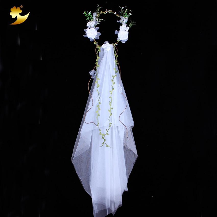 XinYun Flower Head Wreath White Veil Fabric Bridal Headpiece Hairbands Wedding Hair Accessories Flower Crown Women Headbands