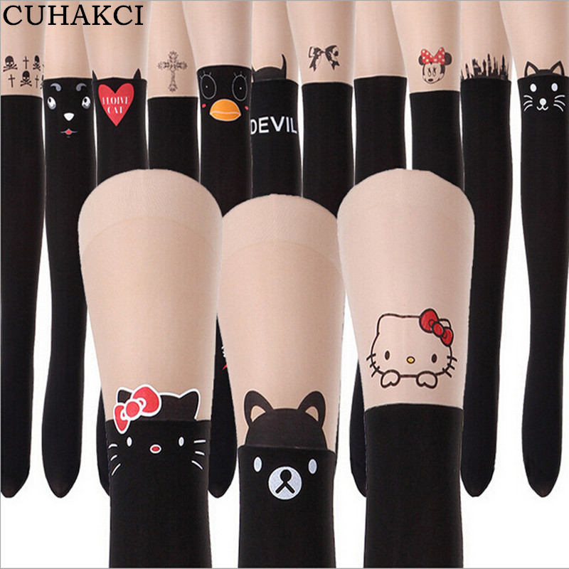 CUHAKCI Spring Summer Tights New Print Black Pantyhose Eiffel Tower Cat Tail Patchwork Totoro Tattoo Women Tights Thin Pantyho