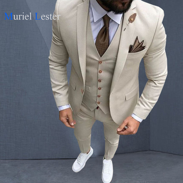 e2a2648f66c ML-220 Latest Coat Pant Designs Beige Men Suit Prom Tuxedo Slim Fit 3 Piece  Groom Style mens Suits Custom Blazer Terno man 2018