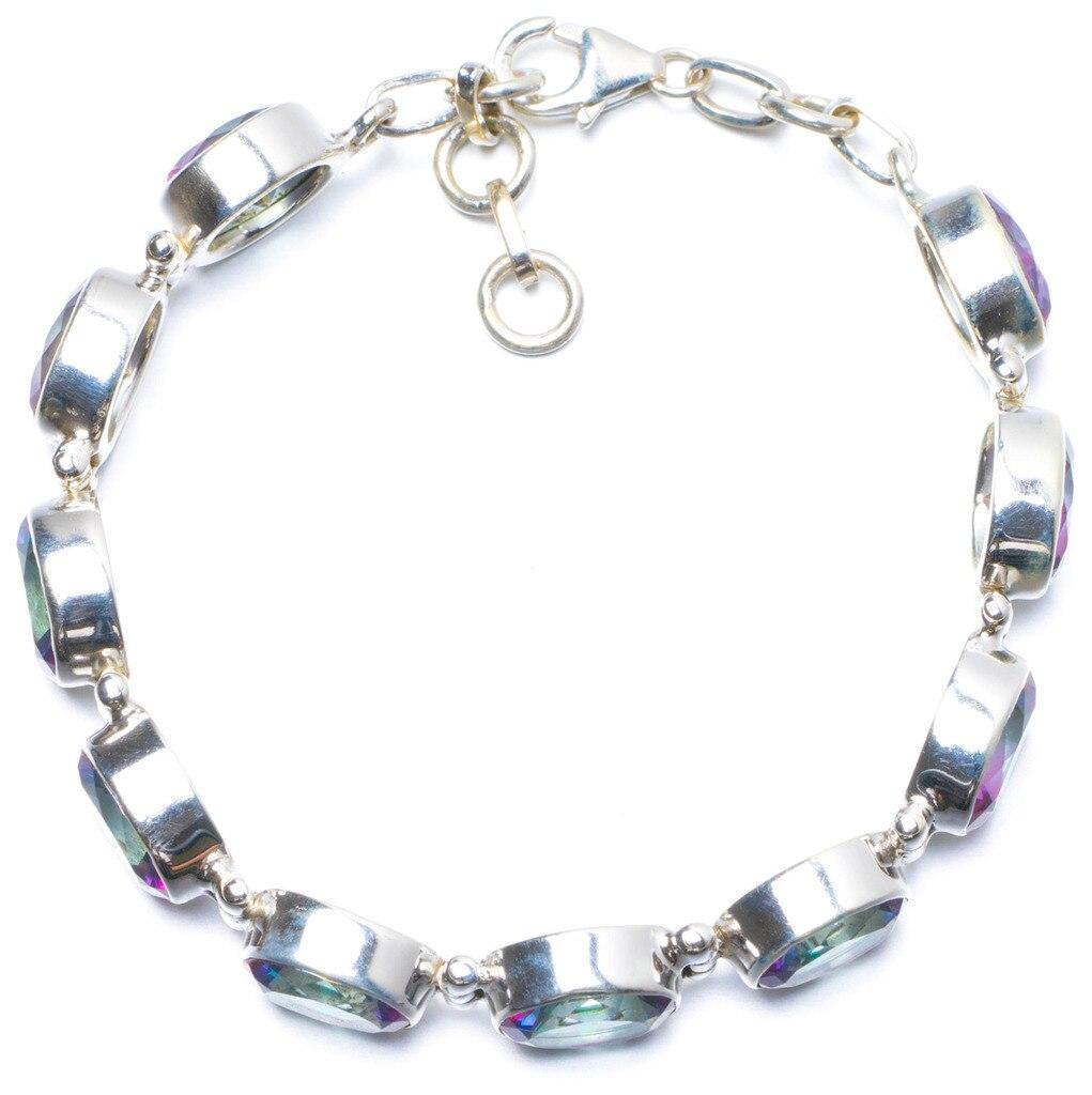 Natural Mystical Topaz Handmade Unique 925 Sterling Silver Bracelet 6 3/4-7 1/2