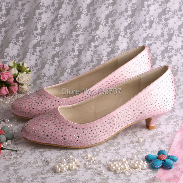 2016 Fashion font b Women b font Wedding Pumps Pink Round Toe Satin 4 CM Low