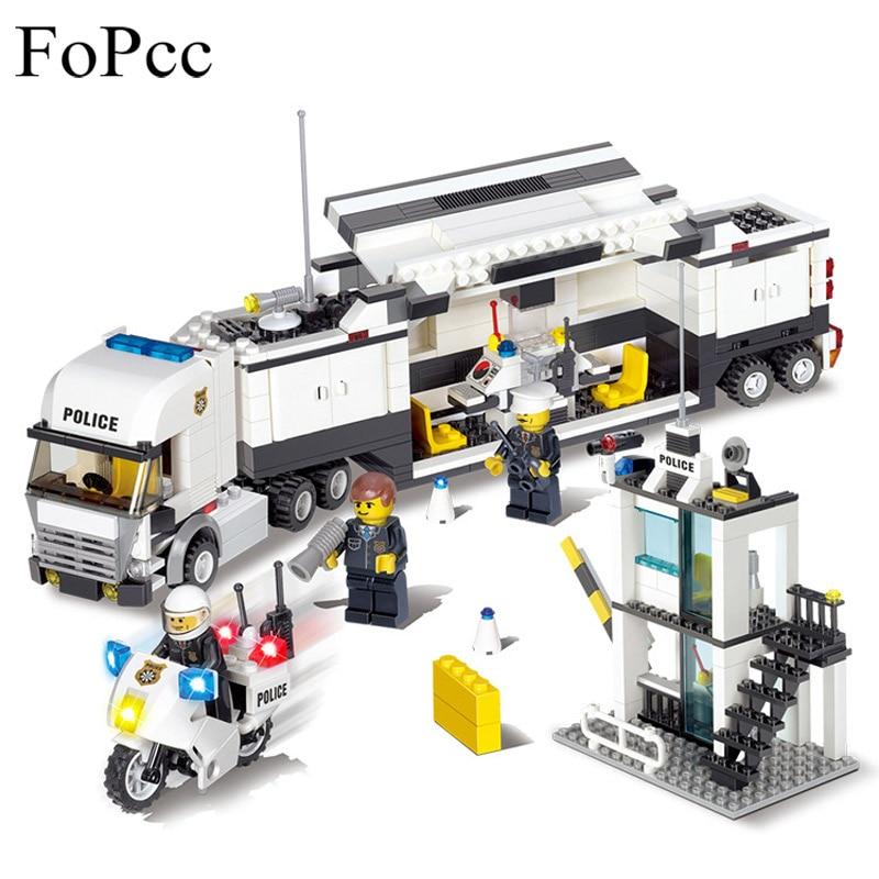 511 piezas niños juguetes ciudad policía coche camión bloques de construcción ladrillos juguetes educativos niños regalo Navidad Legoings