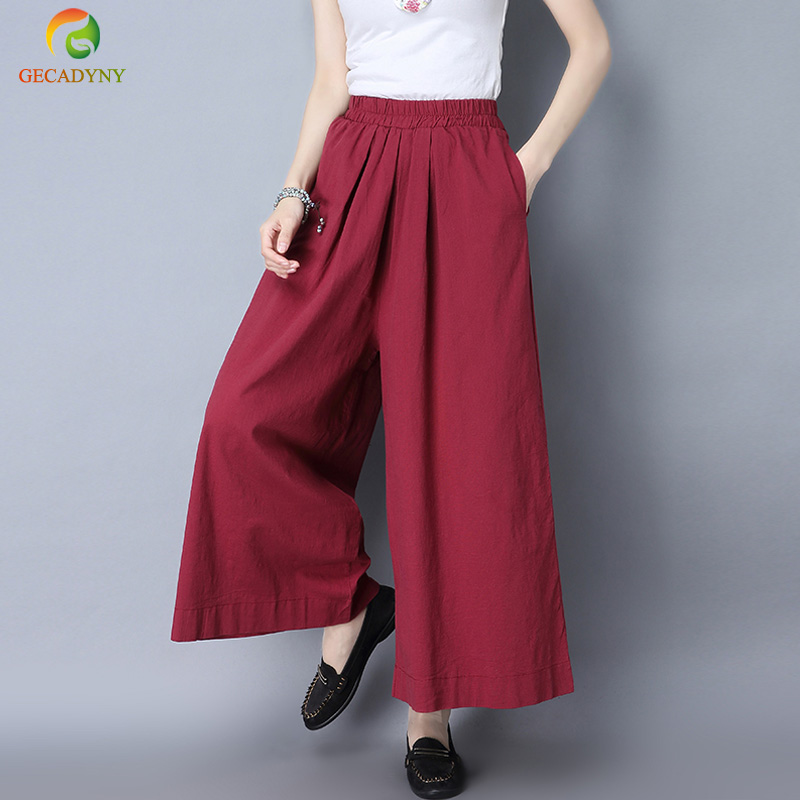 2019 Spring Summer   Pants   Hemp Bloomer Big Size Loose Solid Women Trousers Cotton Linen Pleated Oversize Sashes   Wide     Leg     Pants