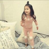 2017 Autumn Baby Girls Pajamas Casual Cotton Girl Sleepwear Star Long Sleeved 2Pcs Kids Suits Home