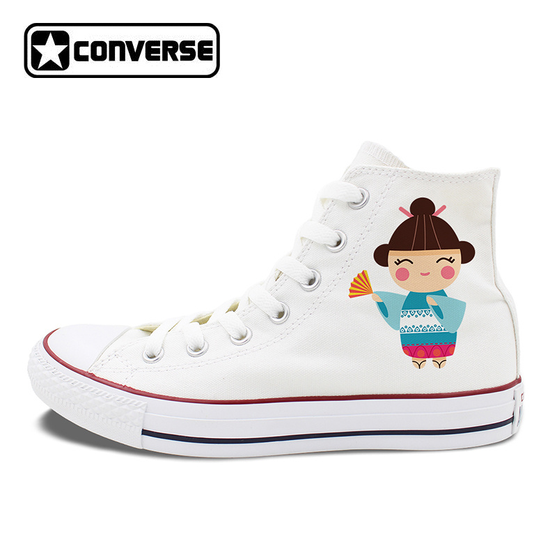 White Converse Shoes Men Women Skateboarding Shoes Design Japanese Featured Dolls High Top Sneakers Chuck Taylor цена