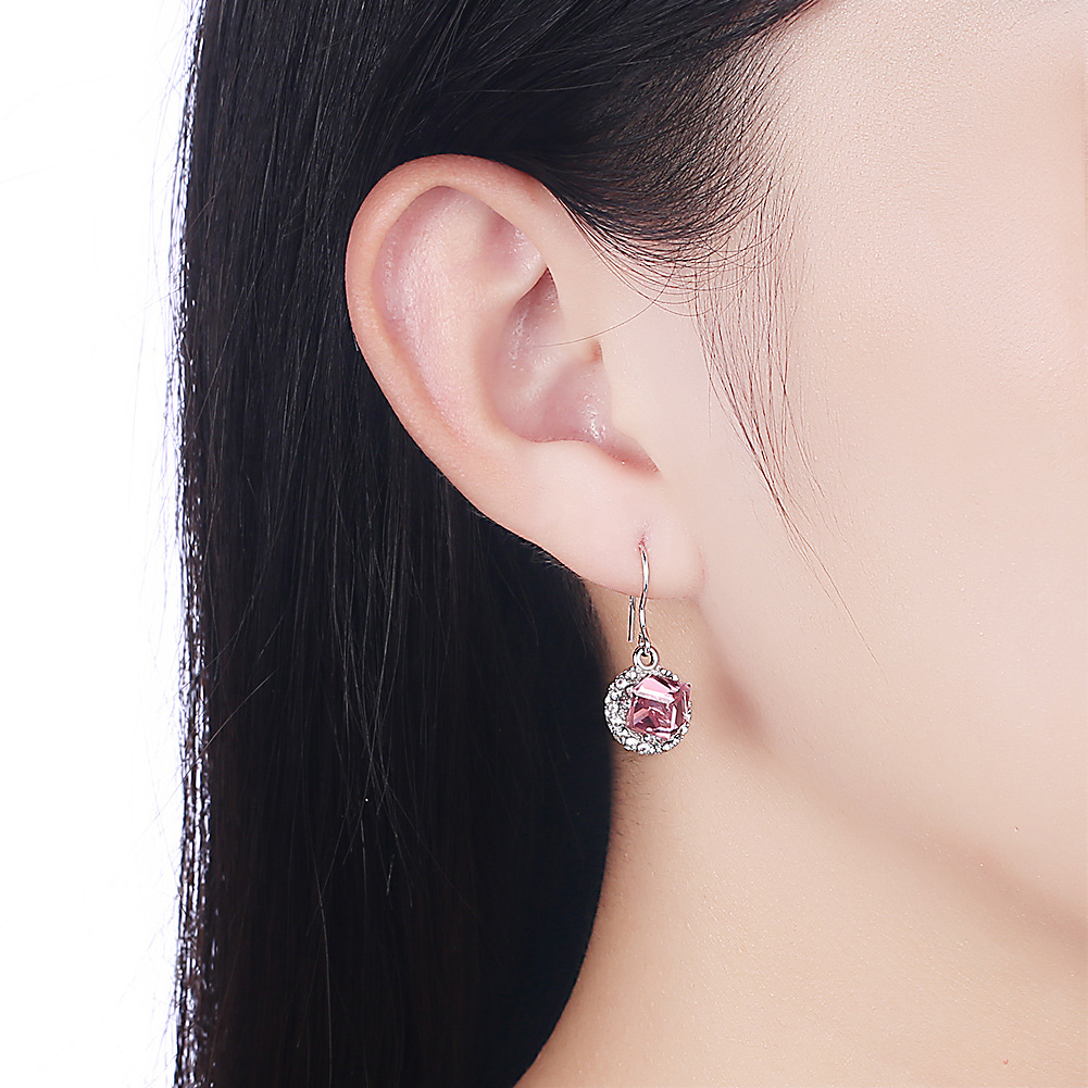 Rose Gold Austria Crystal Geometric Type Drop earring European and American Fashion Silver 925 Zircon for Women Gold Plate Color in Earrings from Jewelry Accessories