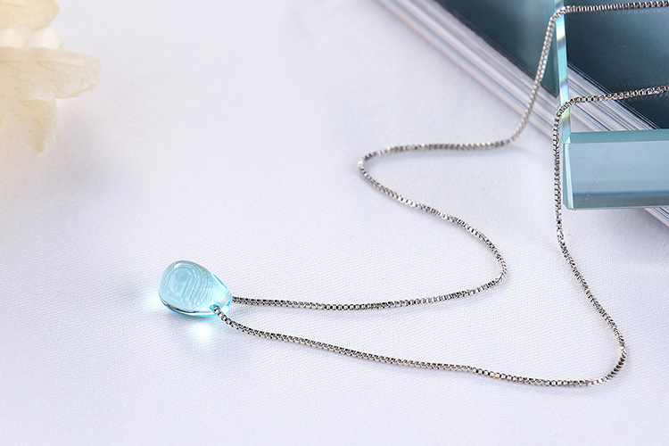 Anenjery Literary Artificial Blue Crystal Water Drop Necklace 925 Sterling Silver Clavicle Chain Necklace For Women Girl S-N292 16