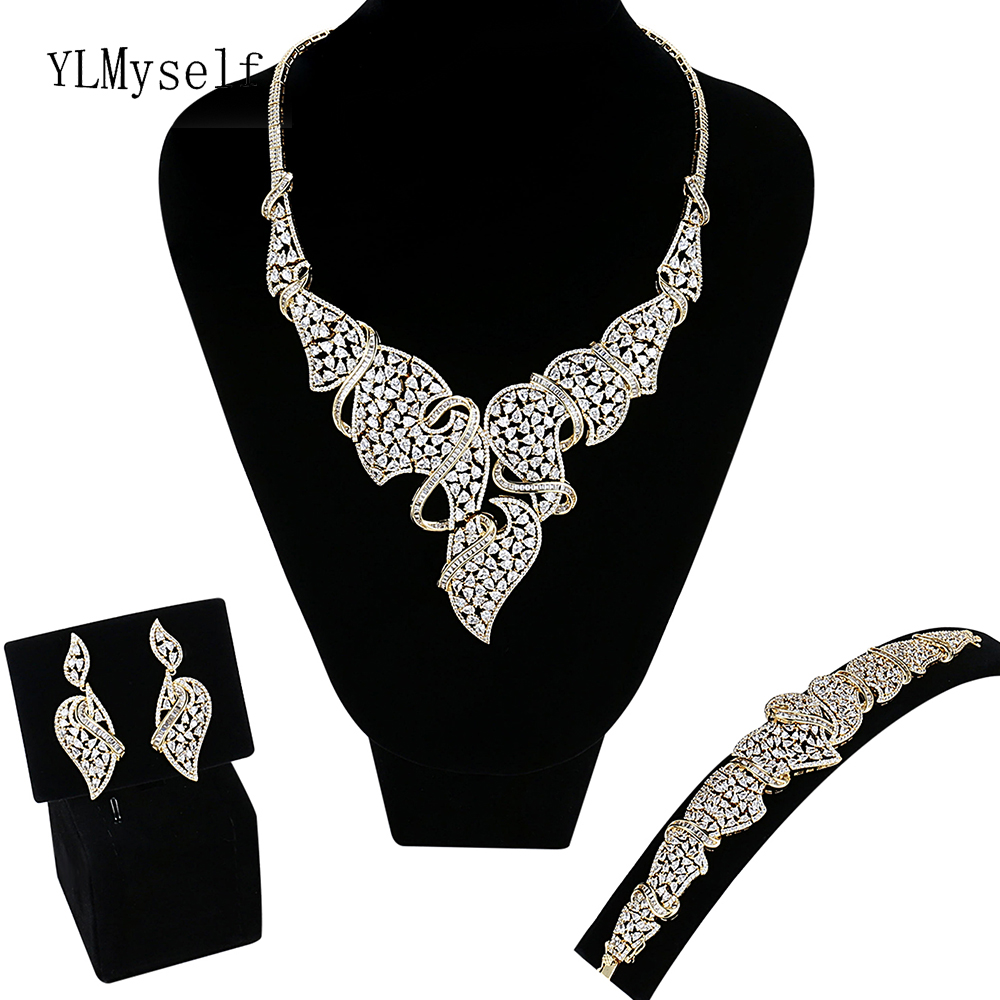 Fantastic Luxurious large 4pcs jewelry sets Necklace/Bracelet/earrings/free size ring Gold/White wedding party jewellery setFantastic Luxurious large 4pcs jewelry sets Necklace/Bracelet/earrings/free size ring Gold/White wedding party jewellery set
