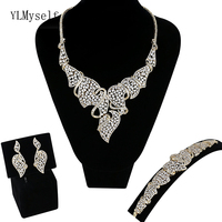 Fantastic Luxurious large 4pcs jewelry sets Necklace/Bracelet/earrings/free size ring Gold/White wedding party jewellery set