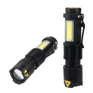 Image 1 - 3800LM XML Q5 + COBแบบพกพาBright Bright LED Handheld LEDไฟฉายปรับโฟกัสซูมMINIไฟฉายใช้แบตเตอรี่AA 14500