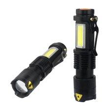 3800LM XML Q5 + COB Di Động Siêu Sáng Cầm Tay Đèn Pin LED có Thể Điều Chỉnh Được ZOOM Đèn Pin Mini Sử Dụng PIN AA 14500 Pin