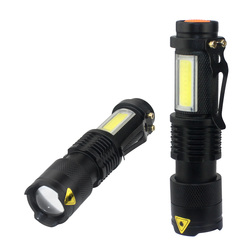 3800LM XML-Q5+COB Portable Ultra Bright Handheld LED Flashlight with Adjustable Focus ZOOM Mini Torch Use AA 14500 Battery