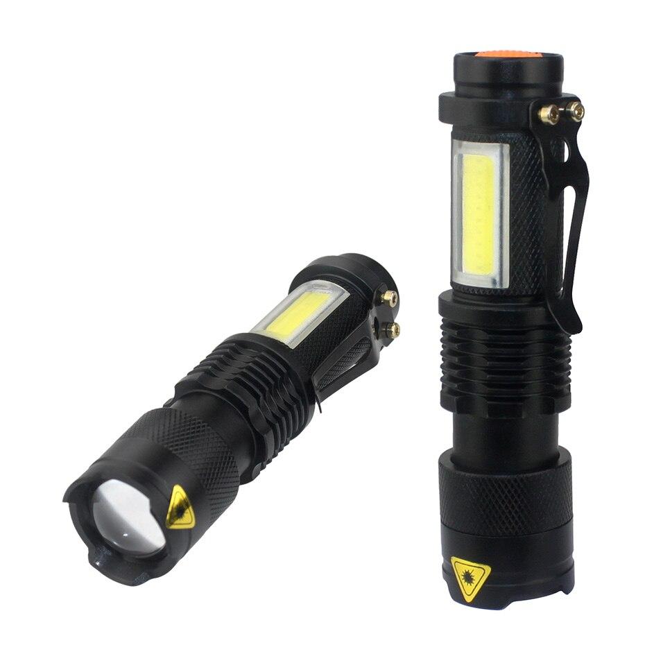 3800lm Xml-q5 + Cob Tragbare Ultra Helle Handheld Led Taschenlampe Mit Einstellbarer Fokus Zoom Mini Taschenlampe Verwenden Aa 14500 Batterie