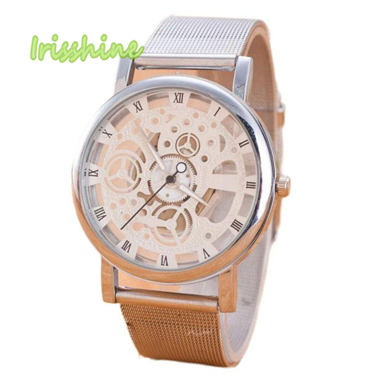 Irisshine I0554 Men Women Neutral Leisure Time Faux Steel Ribbon Analog Simple Clock Dial Wrist Watch New Unisex Watches Gift