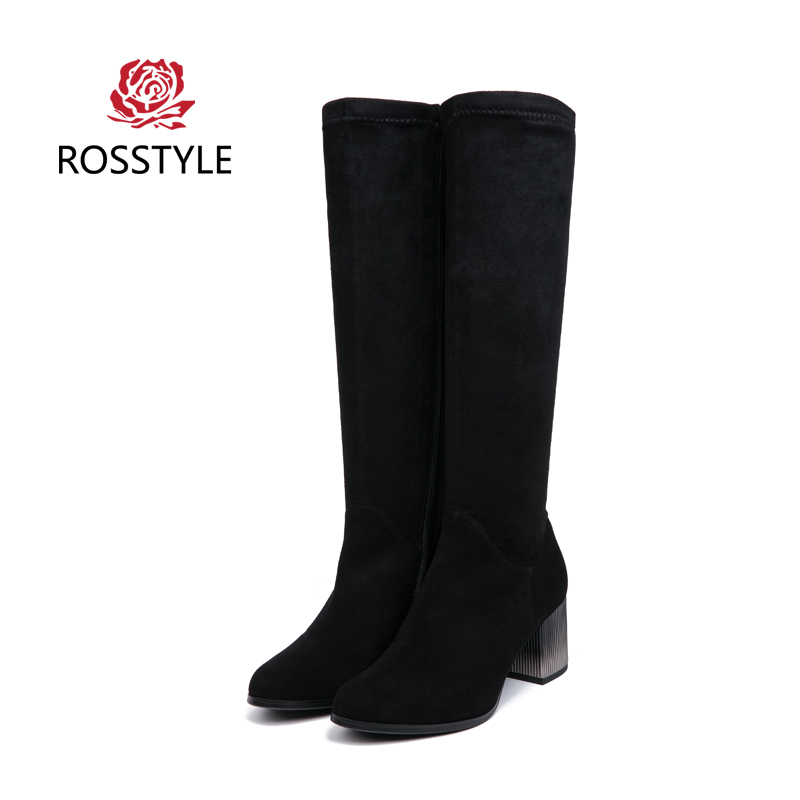 ROSSTYLE Spring Autumn Suede Inside Warm Boots Women Luxury Black Fashion Zipper Knee-High Shoes The Largest Size 35-41 H4