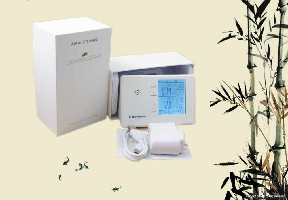 free shipping Digital portable air pollution monitor indoor air quality monitor 2016 hot sale 3w power car hepa air purifie led display air quality smart design personal for clean indoor pollution