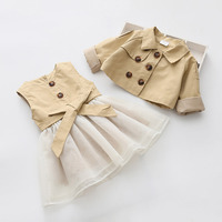 Newest 2018 Spring Autumn Baby Girls Clothes Sets Trench coat jacket+TUTU Dress 2 Pcs Kids Suits Infant Children Casual Suits