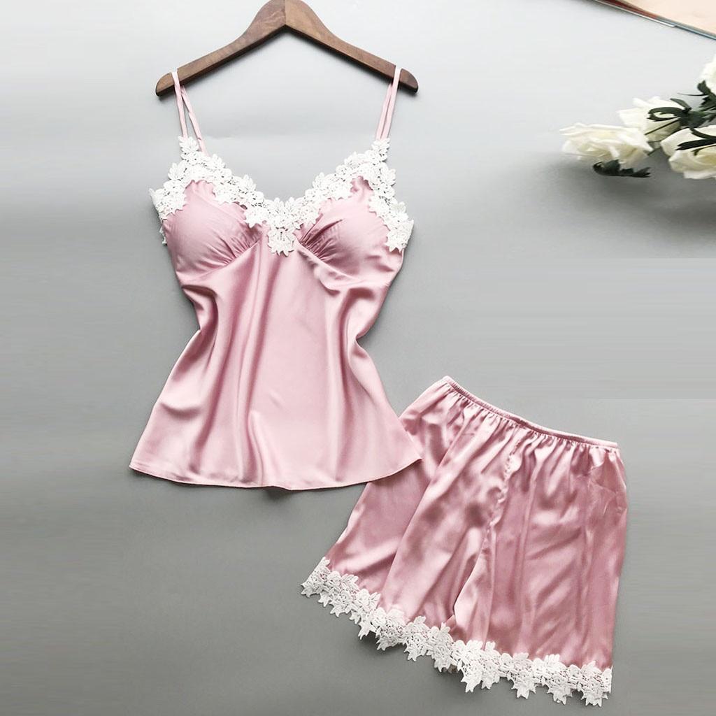 2019 Sexy Woman Pajamas Women Sexy Lace Lingerie Nightwear Woman Sleeping Wearing Underwear Babydoll Short Sleepwear Set Pajamas