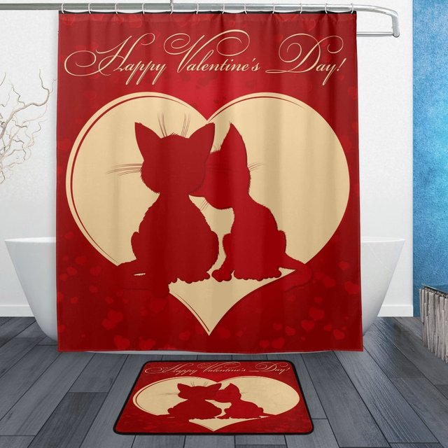 Happy Valentines Day Shower Curtain And Mat Set Heart Love Cats Waterproof Fabric Bathroom