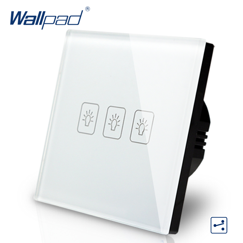 3 Gang 2 Way 3 Way Eu European Switch 110V-240V Wallpad White Crystal Glass LED 3 Gang 2 Way Touch Light Switch EU Free Shipping 10a universal socket and 3 gang 1 way switch wallpad 146 86mm white crystal glass 3 push button switch and socket free shipping